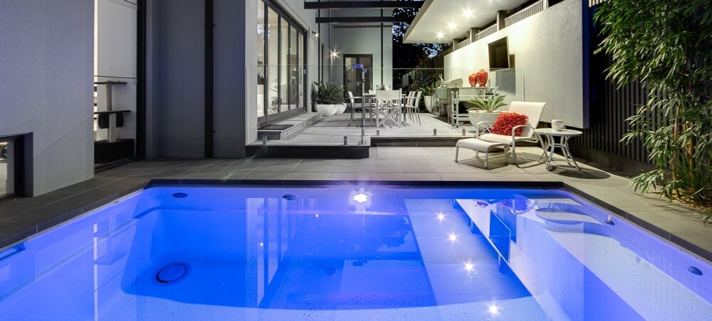 Compass Pools Centre Newcastle Fibreglass plunge pool with pool lighting